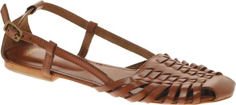 Asos Asos Mex Leather Woven Flat Shoe in Brown (tan)