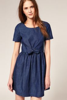Boutique By Jaeger Knot Front Denim Dress - Lyst