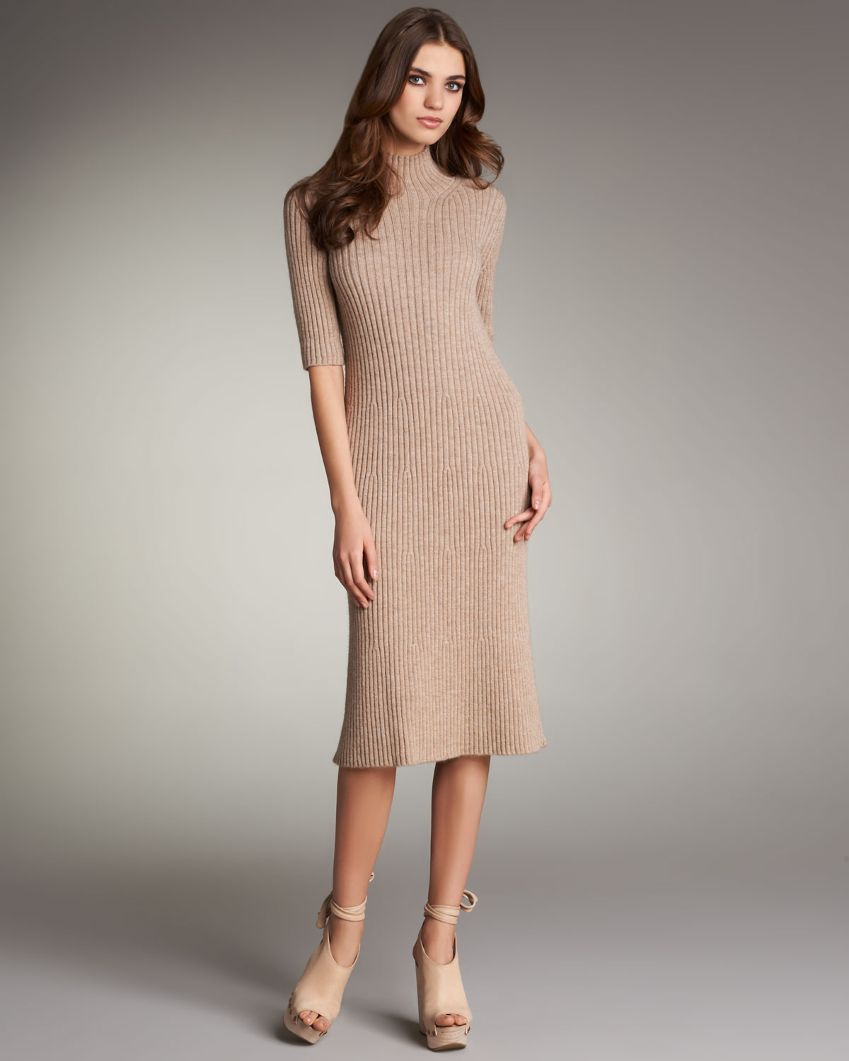 Chloé Ribbed Sweater Dress in Natural | Lyst