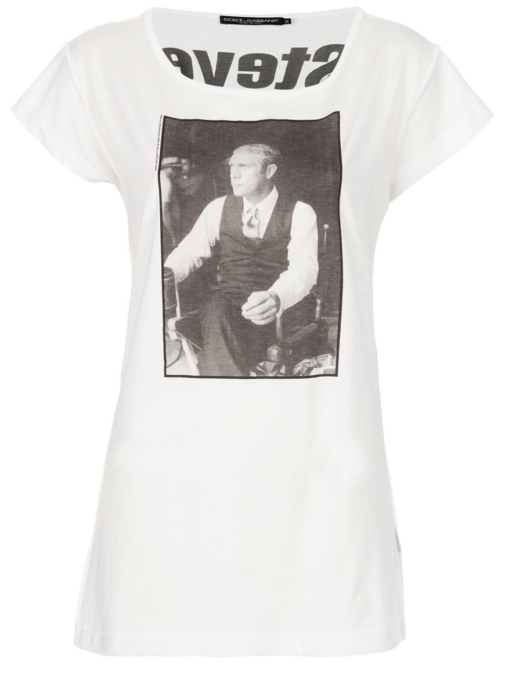 Dolce gabbana printed t shirt in white lyst for Dolce and gabbana printed t shirts