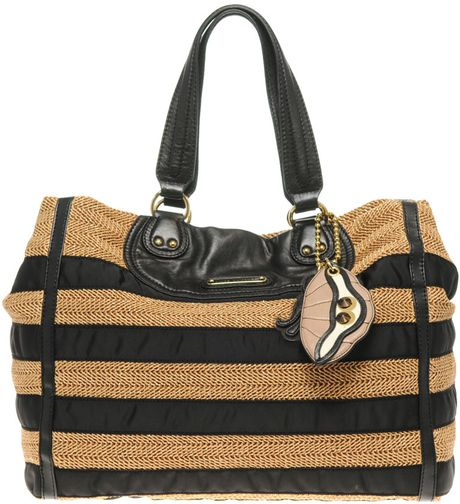 Juicy Couture Lurex Straw Tote Bag in Black