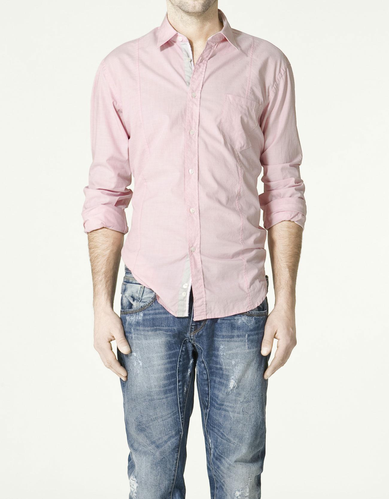 Zara fil a fil t shirt in red for men lyst for Zara mens shirts sale