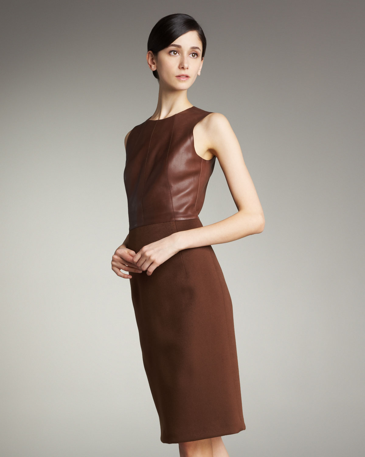 lyst akris leather top double face skirt dress in brown