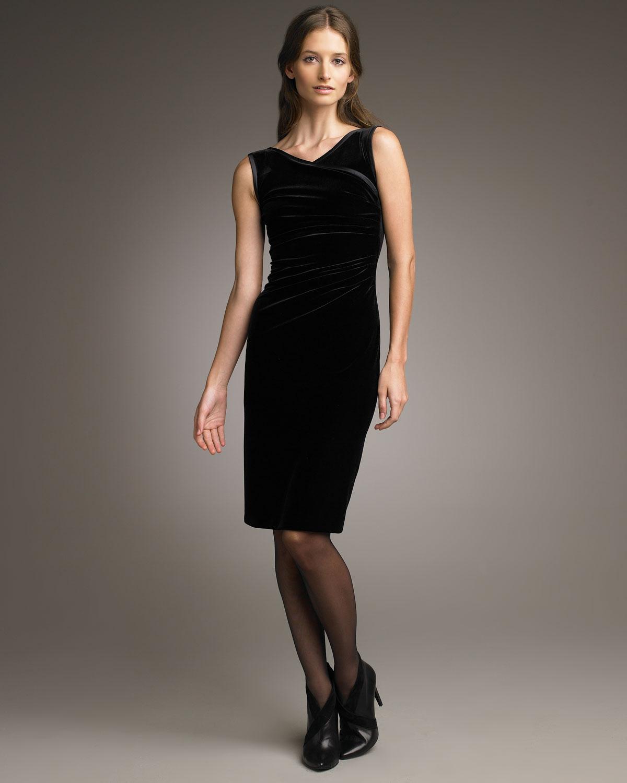 Armani Velvet Surplice-neck Dress in Black - Lyst