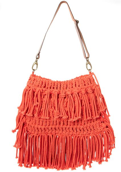 Crochet Bag Strap : Asos Collection Asos Leather Strap Bright Crochet Bag in Orange Lyst