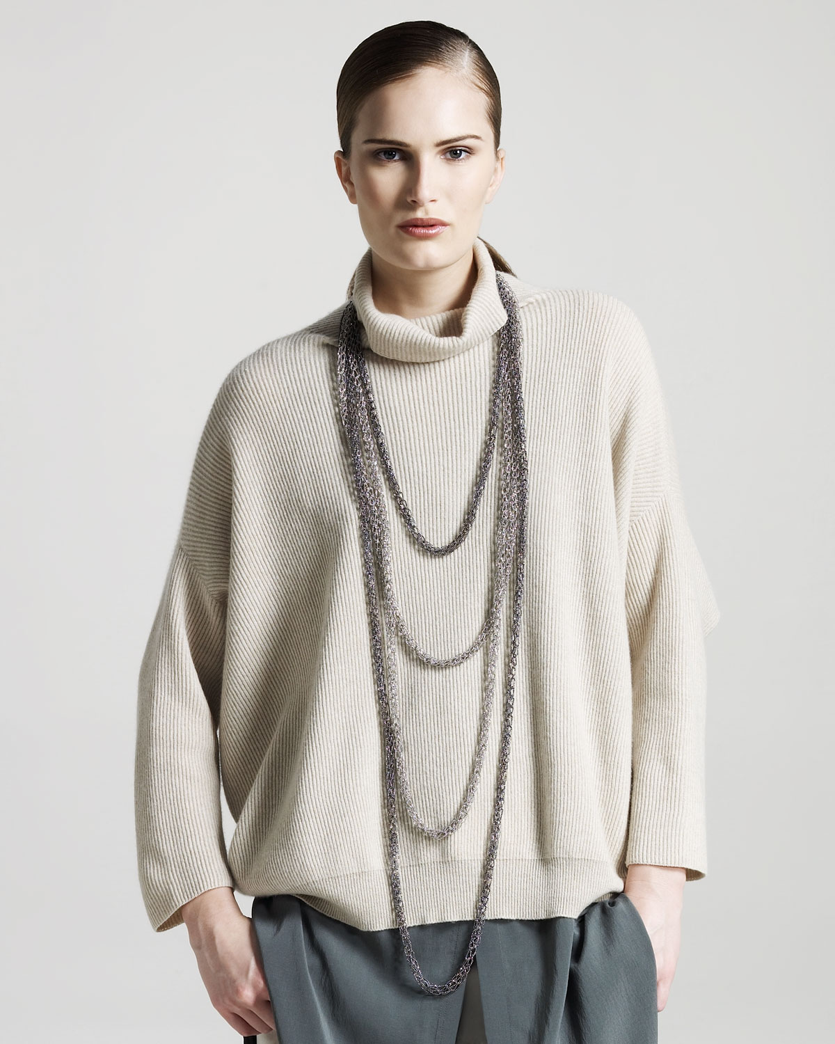 cheap for discount 2bd59 750c9 Brunello Cucinelli Natural Oversized Ribbed Cashmere Sweater