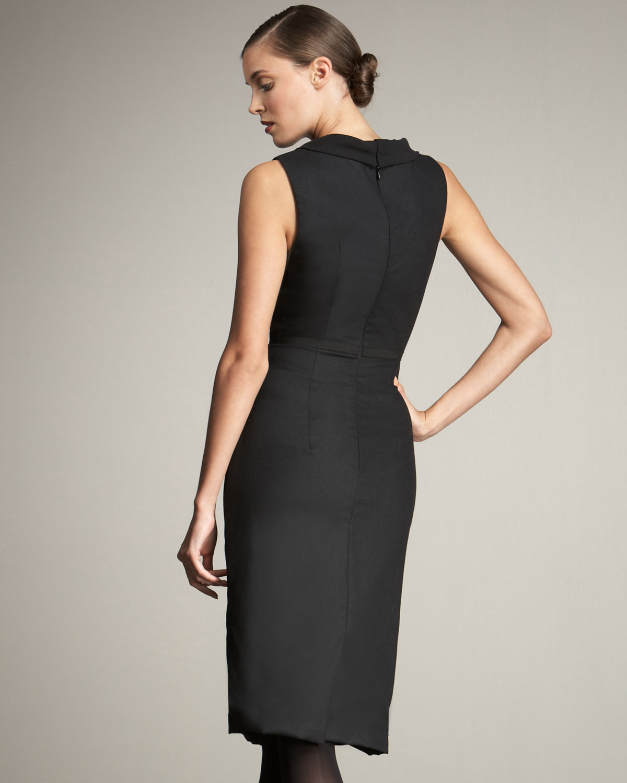 Cowl Neck Sheath Dresses: Carolina Herrera Cowl-neck Sheath Dress In Black