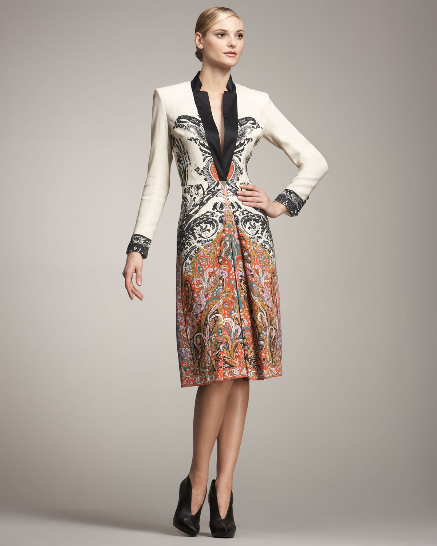 cc8e8daa47b2a5 Etro Long-sleeve Coat Dress in White - Lyst