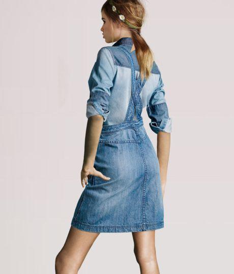 h m dungaree skirt in blue denim lyst