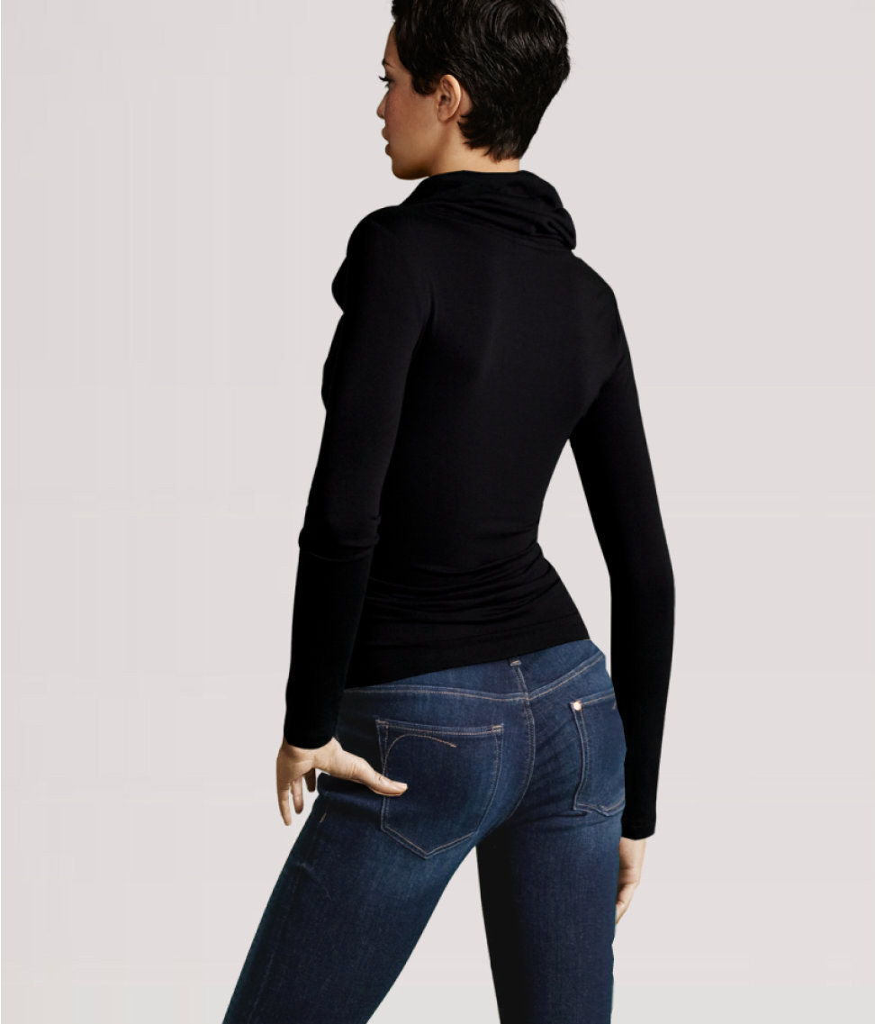 H m polo neck top in black lyst for H m polo shirt womens