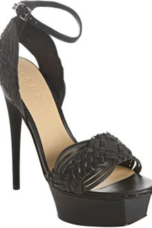 L.a.m.b. Black Leather Kesha Woven Platform Sandals - Lyst