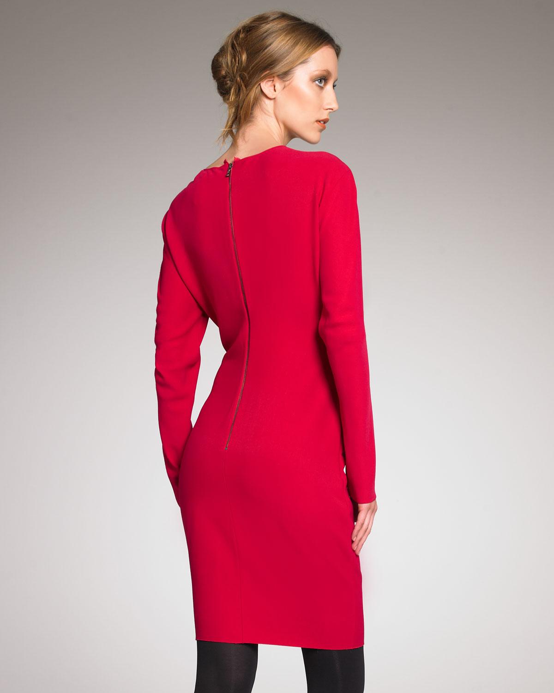 Lanvin Long-sleeve Sheath Dress in Pink  Lyst