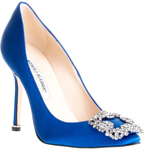 Manolo blahnik hangisi shoe in blue lyst for Shoes by manolo blahnik