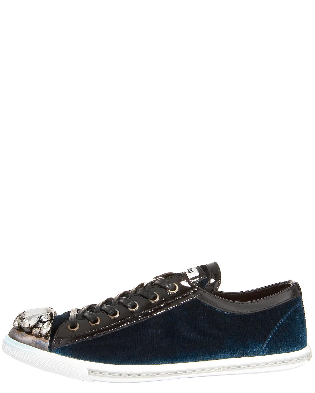 miu miu jewel toe velvet sneaker in blue aqua lyst. Black Bedroom Furniture Sets. Home Design Ideas