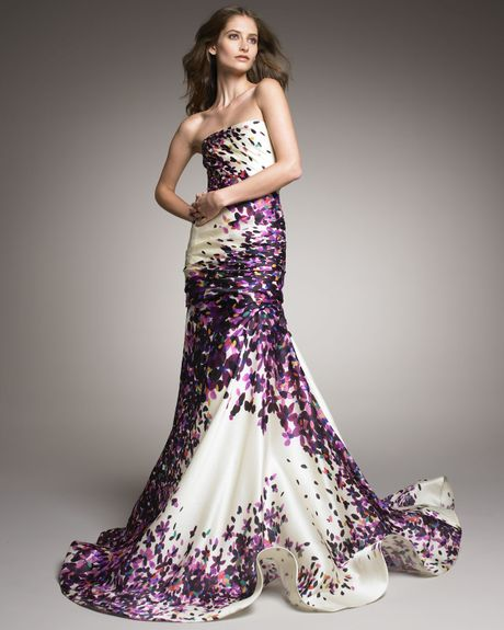 Monique Lhuillier Strapless Silk Trumpet Gown in Purple (multi)