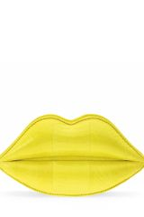 Lulu Guinness Acid Yellow Snakeskin Lips Clutch