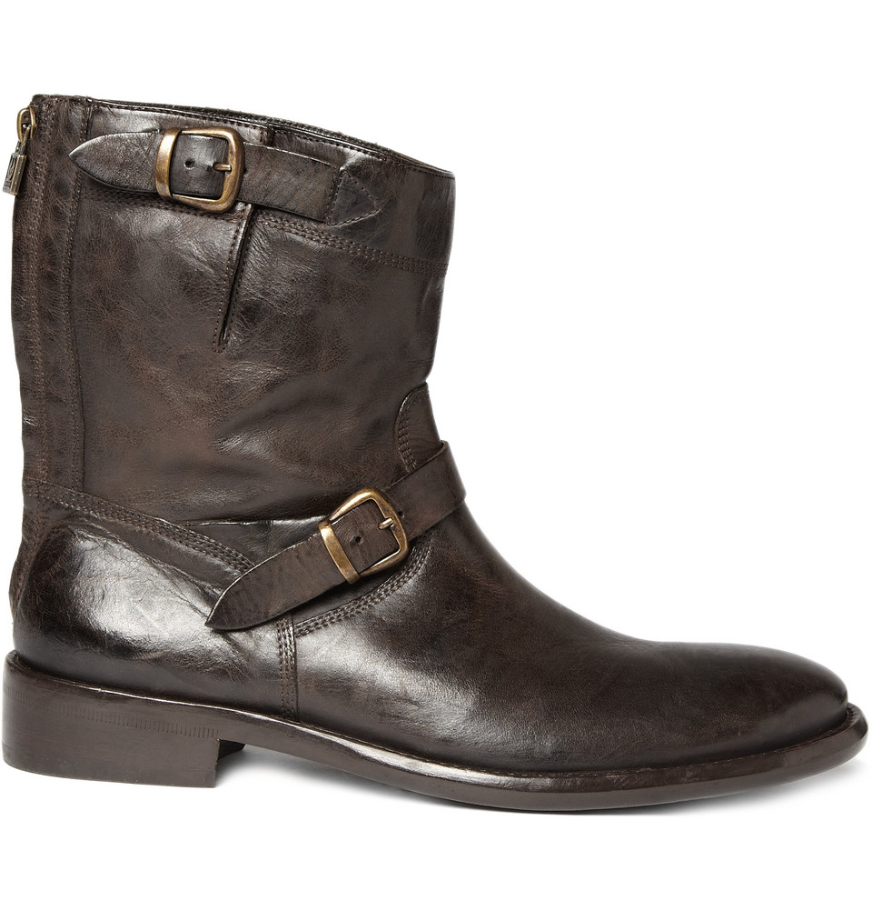 Belstaff Barkmaster Worn Leather Boots In Brown For Men Lyst