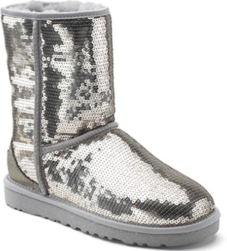 Ugg classic sparkles silver sequin covered sheepskin boot in silver
