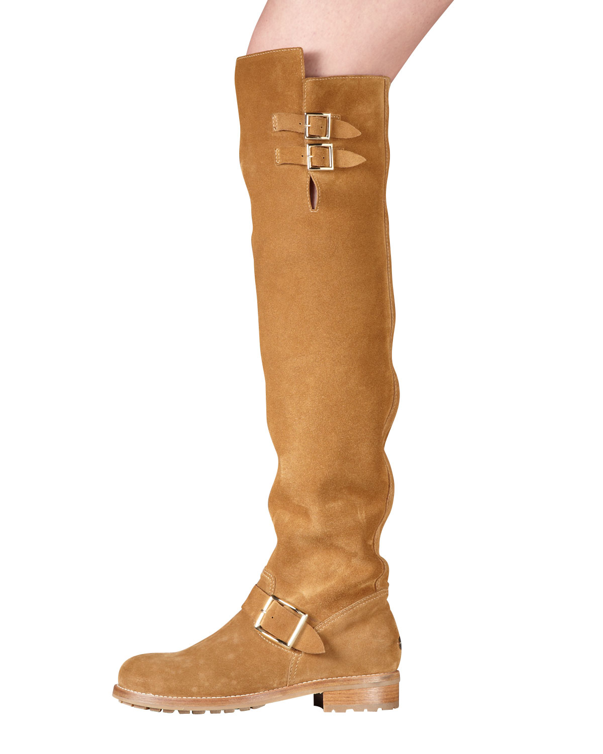jimmy choo flat suede the knee boot in brown whiskey