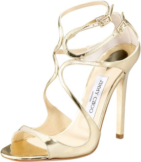 Jimmy Choo Lance Wavy Strap Sandal in Gold