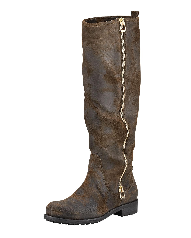 jimmy choo zip up suede motorcycle boot in brown olive