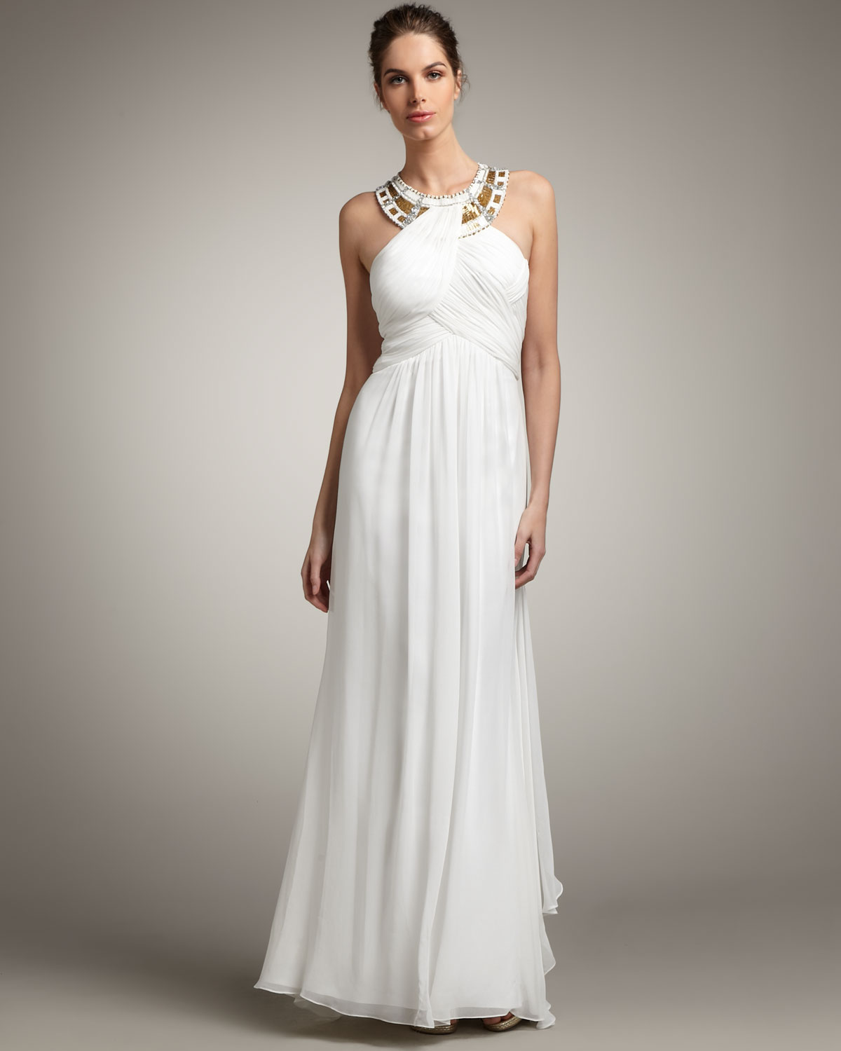Lyst - Mandalay Beaded Halter Gown in White