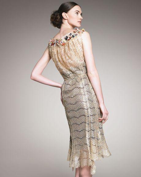 Nina Ricci Beaded-neck Lace Dress In Gold