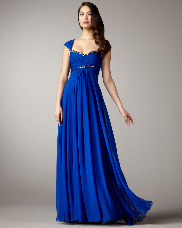 Lyst - Notte By Marchesa Empire-waist Chiffon Gown in Blue