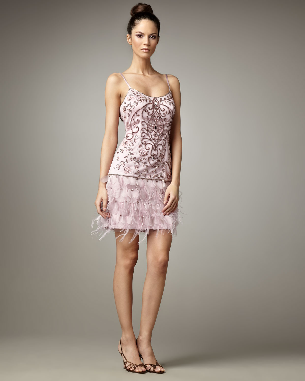 sue wong beaded feather skirt dress in purple lyst
