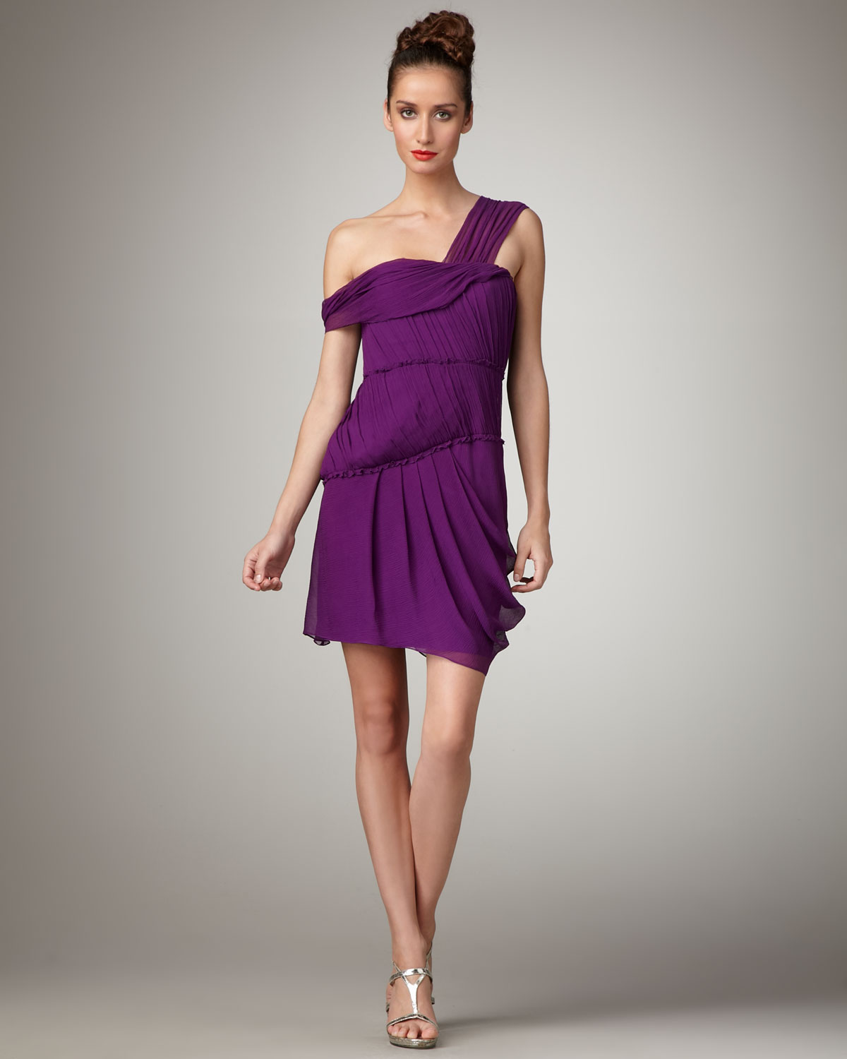 222210bcc1 Vera Wang Lavender Off-the-shoulder Chiffon Dress in Purple - Lyst