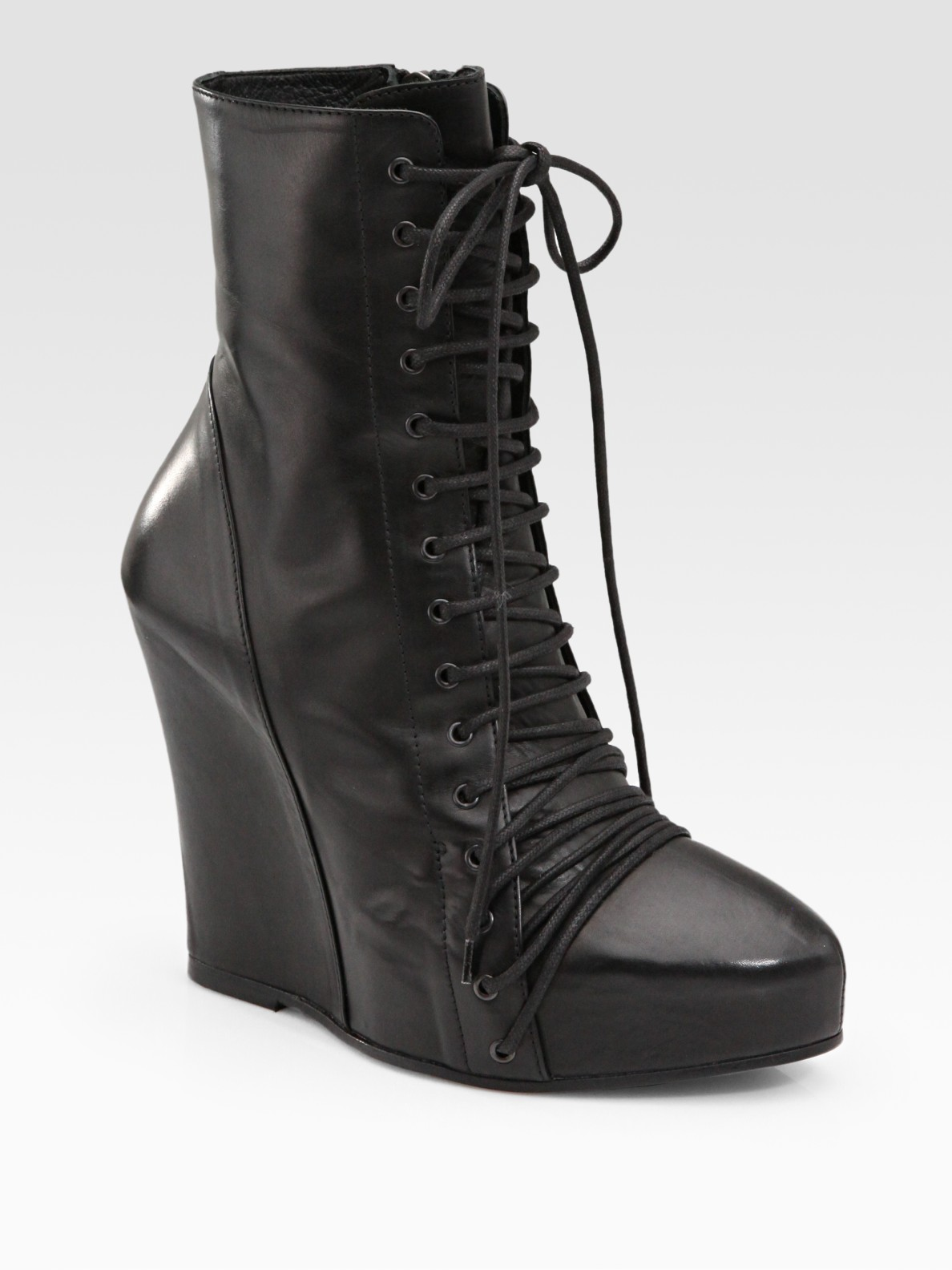 demeulemeester leather lace up wedge ankle boots in