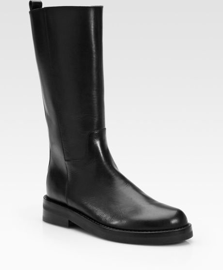demeulemeester leather pull on knee high boots in