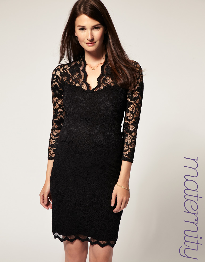 866604fe32 ASOS Collection Asos Maternity Katie Lace Dress in Black - Lyst