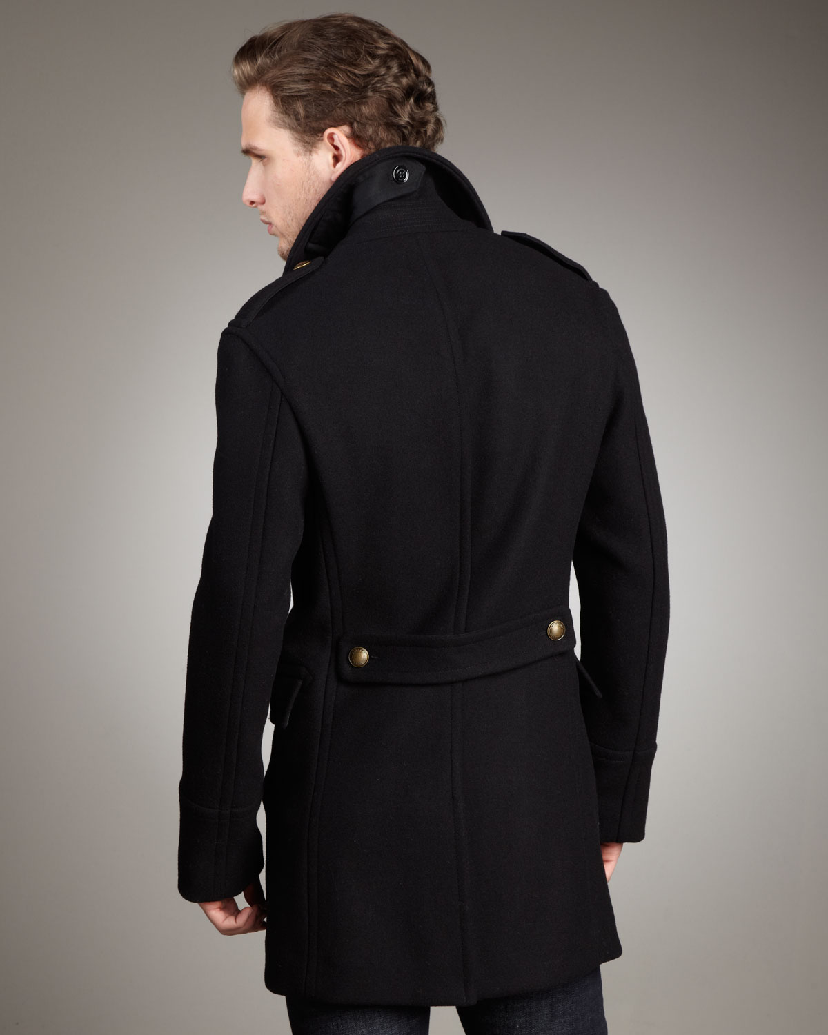 Black pea coat with gold buttons – Modern fashion jacket photo blog