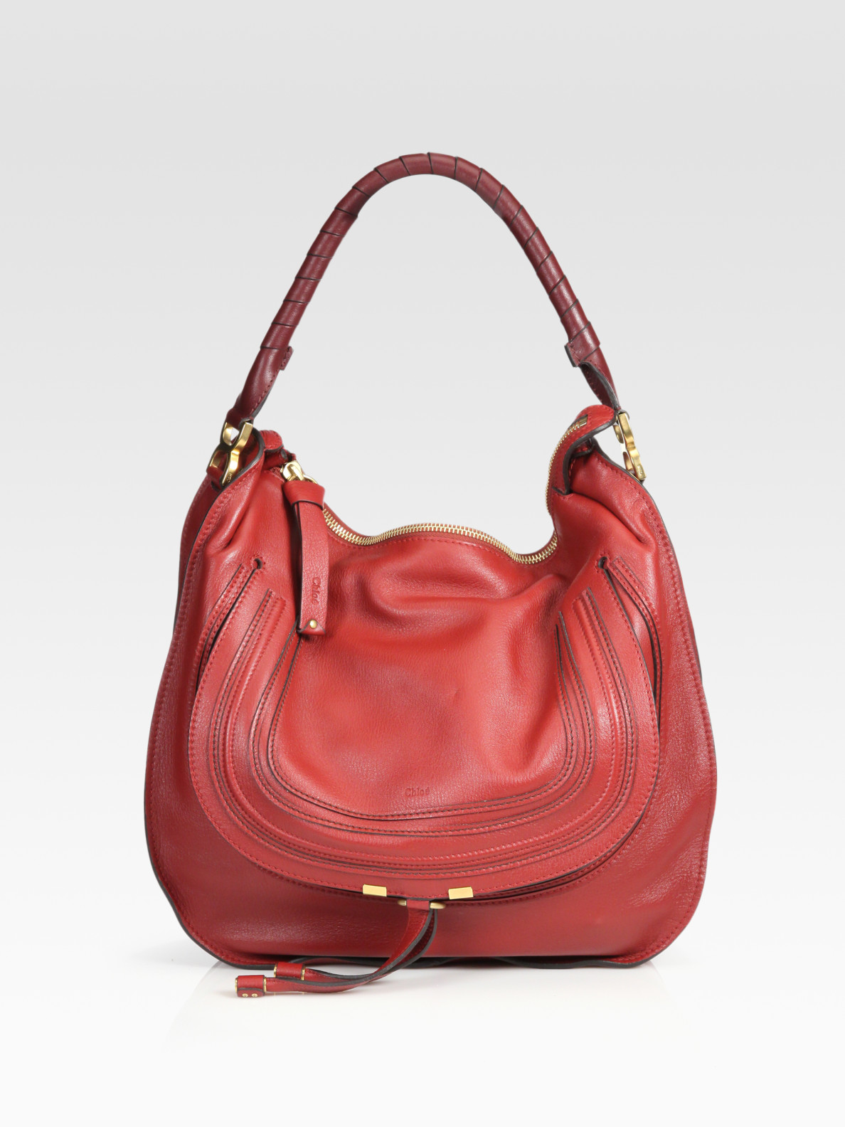 chlo large marcie hobo bag in red garnet lyst. Black Bedroom Furniture Sets. Home Design Ideas