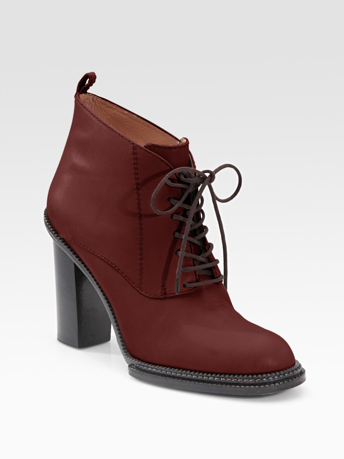 Derek Lam Fede Lace Up Ankle Boots In Red Burgundy Lyst