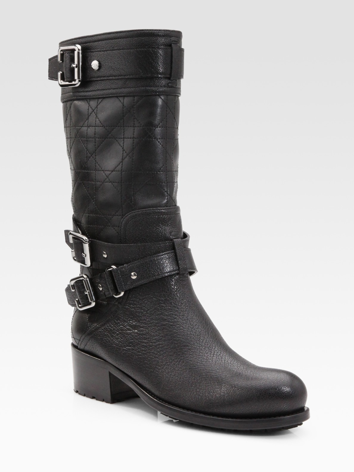cannage leather mid calf buckle boots in black lyst