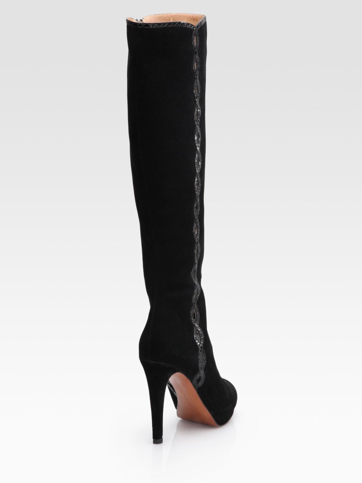 elie tahari barletta suede knee high cutout boots in black