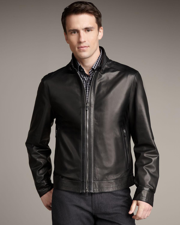 84334cc4 Ermenegildo Zegna Black Leather Jacket for men