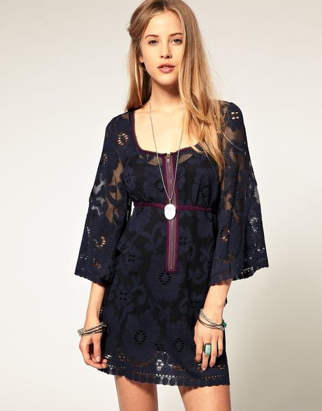 Free People Antique Lace 60s Shift Dress in Blue (bluesteel)