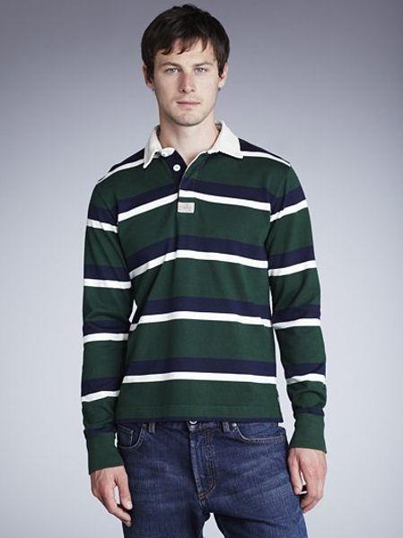 Gant stripe long sleeve rugby shirt green in green for men for Long sleeve striped rugby shirt