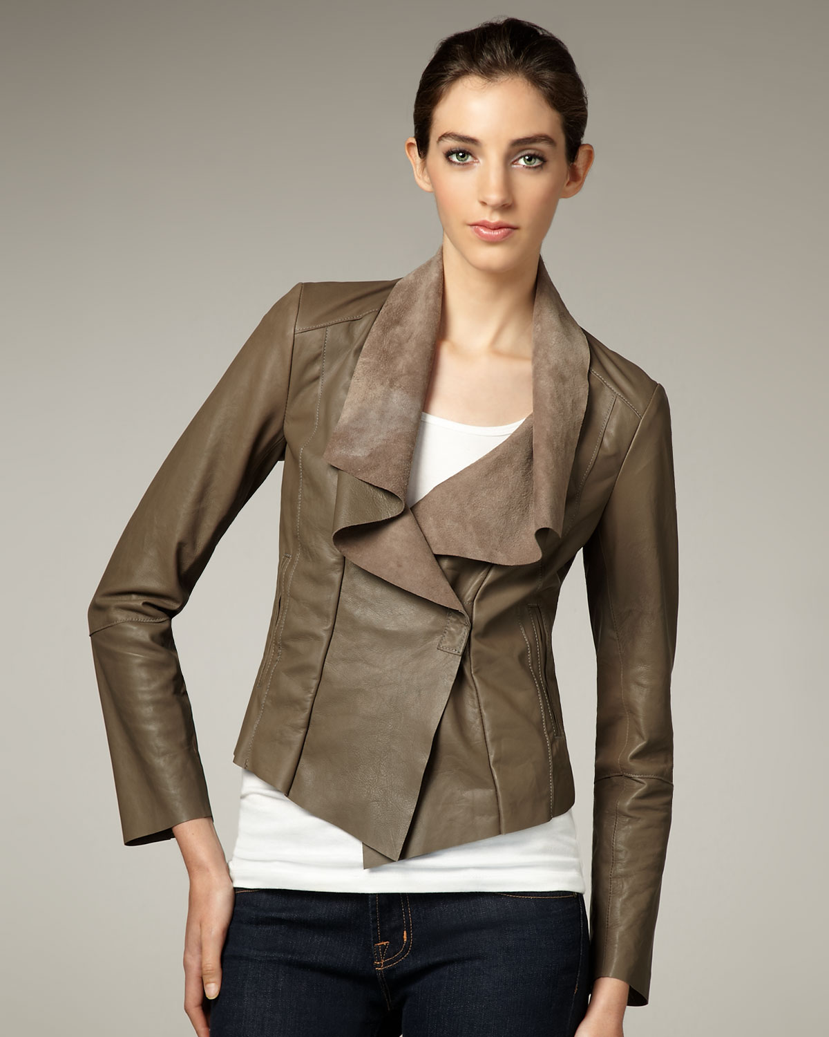 Lyst Graham Amp Spencer Draped Leather Jacket In Brown