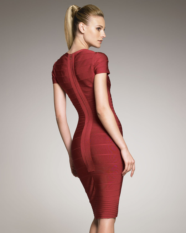 Hervé léger Knee-length Bandage Dress in Red | Lyst