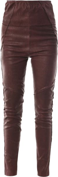Isabel Marant Stretchleather Leggings in Purple (burgundy) - Lyst