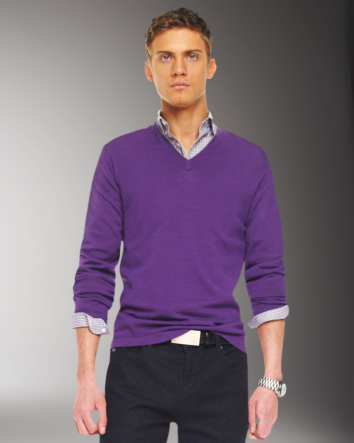 Michael kors Tipped V-neck Sweater in Purple for Men | Lyst