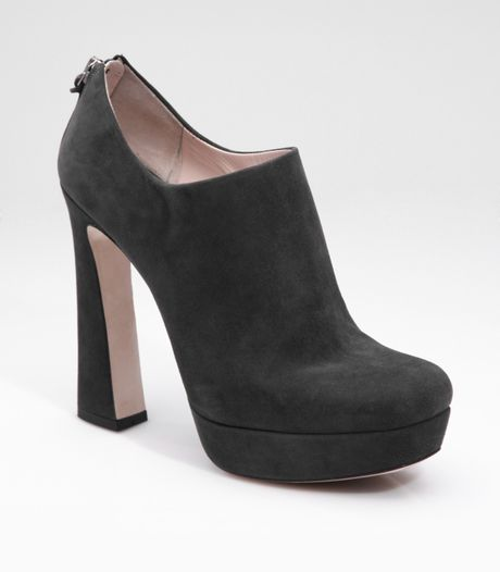 miu miu suede flared heel ankle boots in gray grey lyst