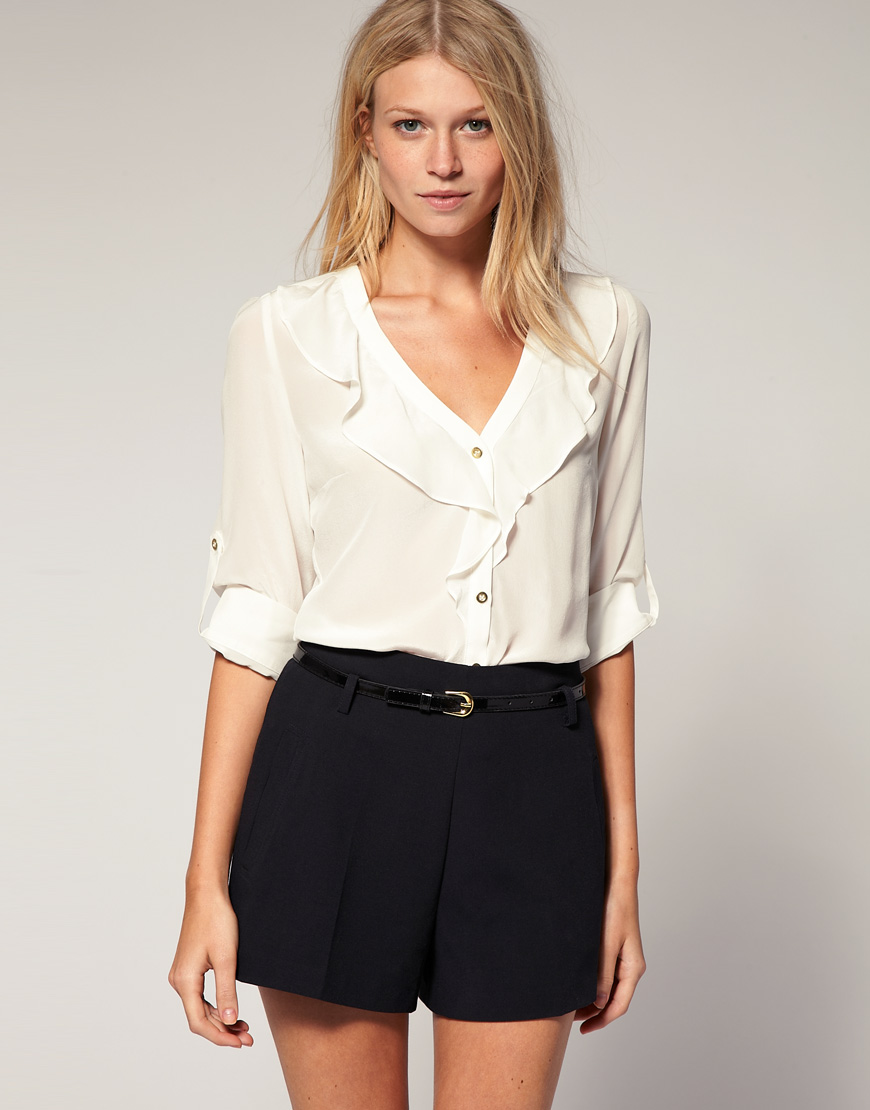 White Blouse With Ruffle Front - Long Blouse With Pants