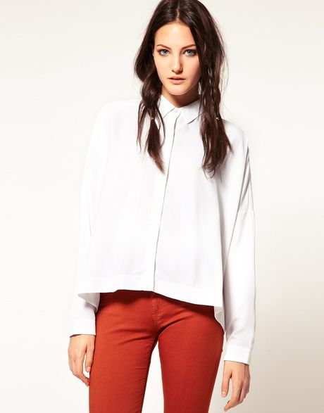 Rag & Bone Jean Boxy Shirt With Skinny Arm in White | Lyst