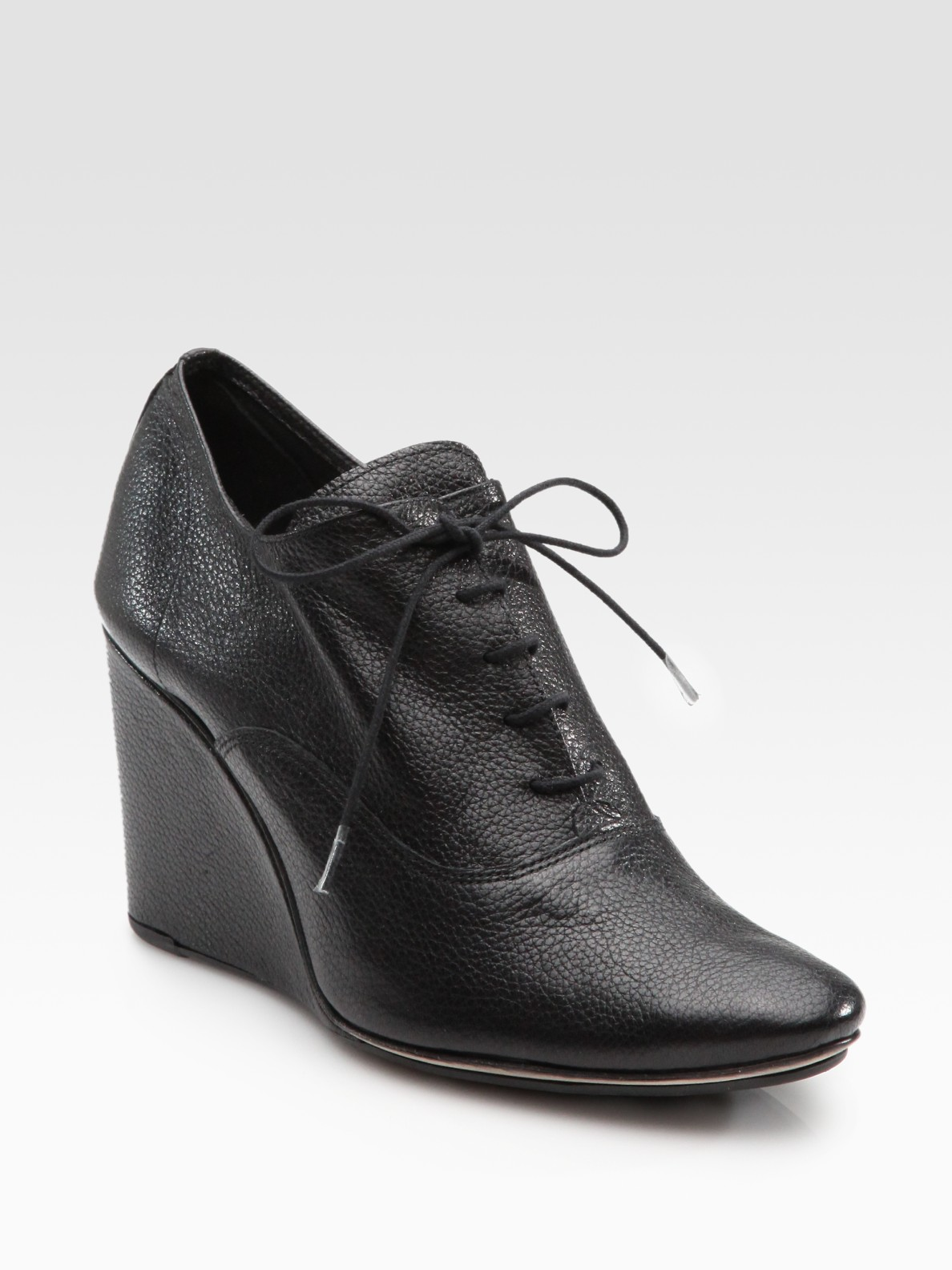 repetto orson lace up grain leather wedge ankle boots in