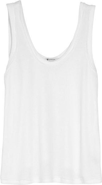 T By Alexander Wang Cotton and Modal-blend Tank in White